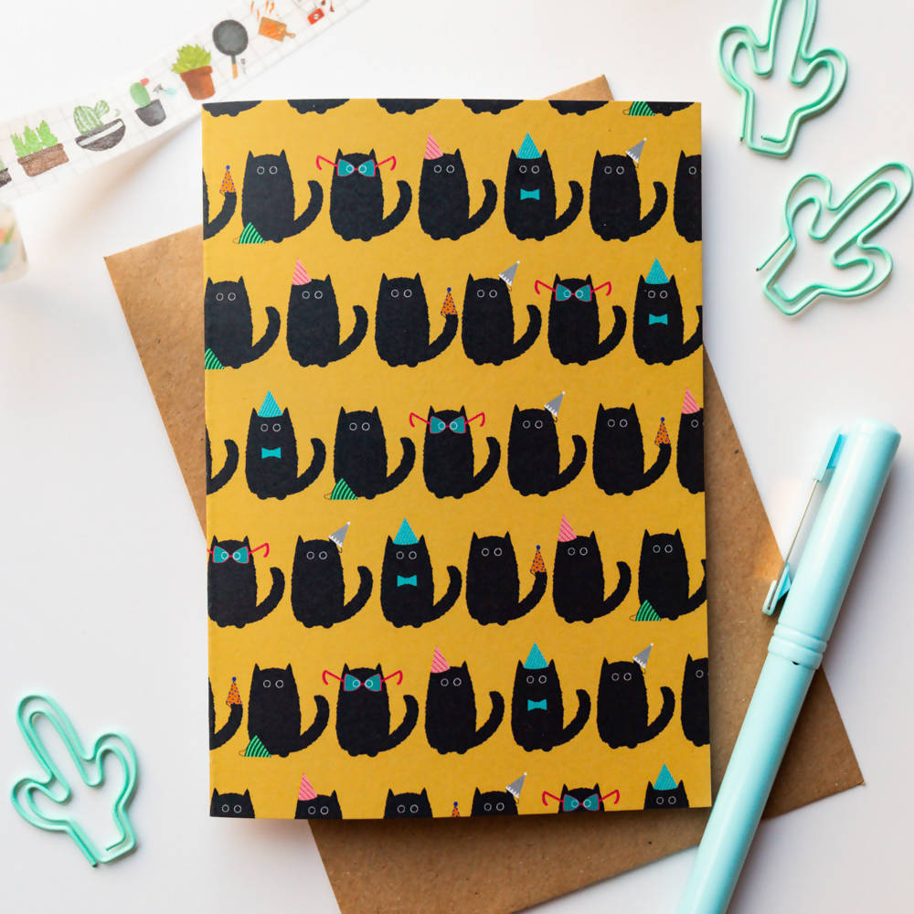 Black Cat Party Greeting Card