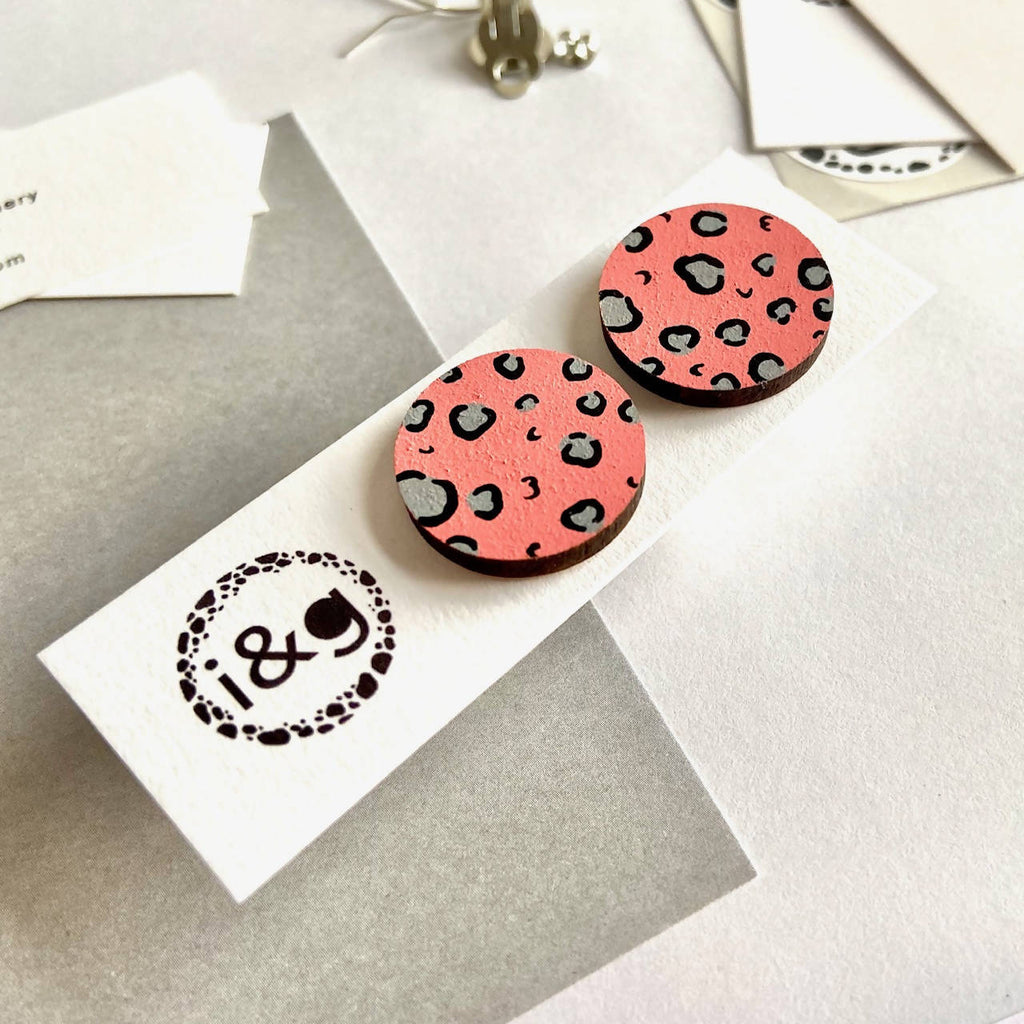 Pink and Grey Leopard Print Wooden Studs Earrings