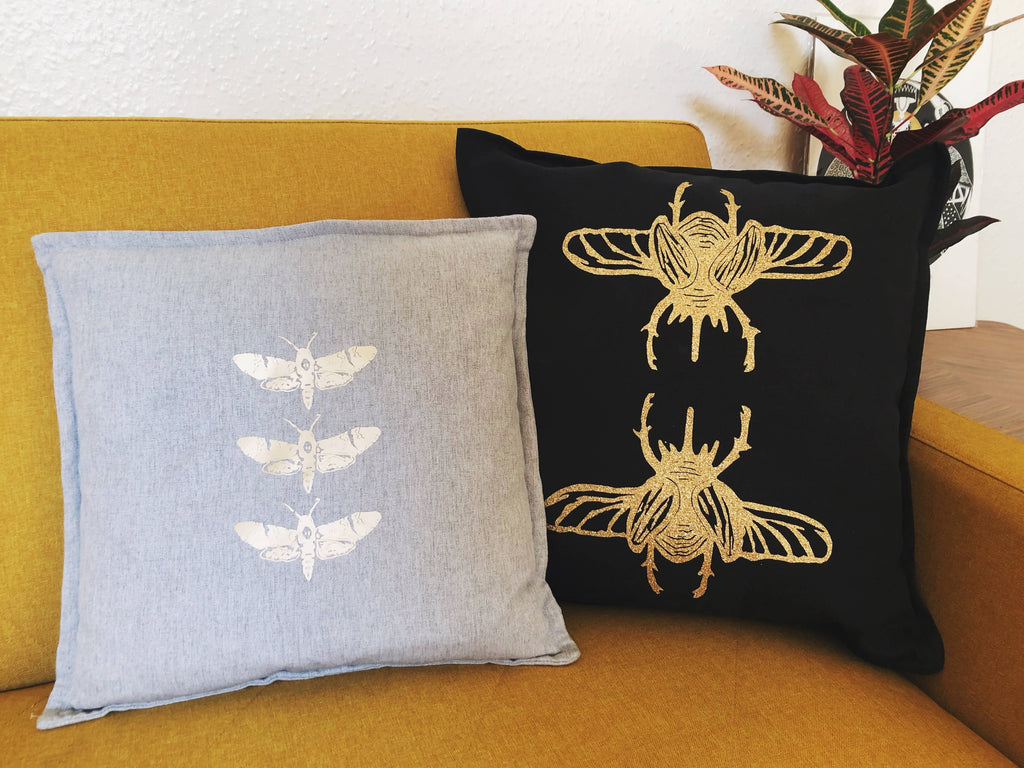Gold Glitter Beetle Cushion WITH Pad | choice of fabric colour