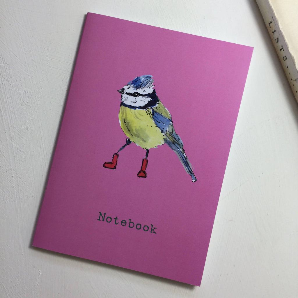 Blue Tit Birds in Wellies Pink Notebook - A5 garden bird design from an original watercolour