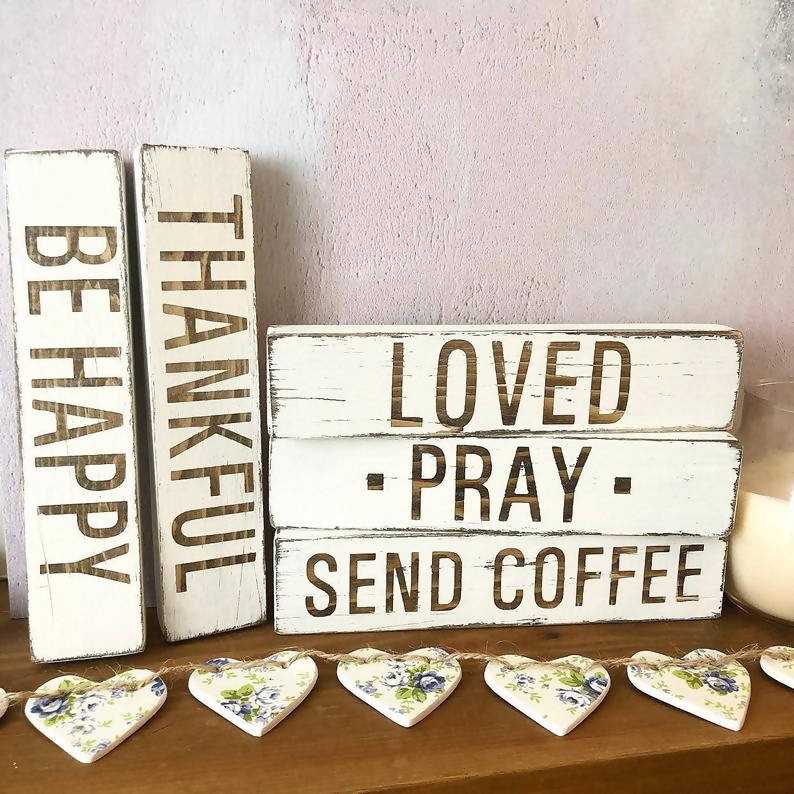 Send Coffee, distressed wooden sign