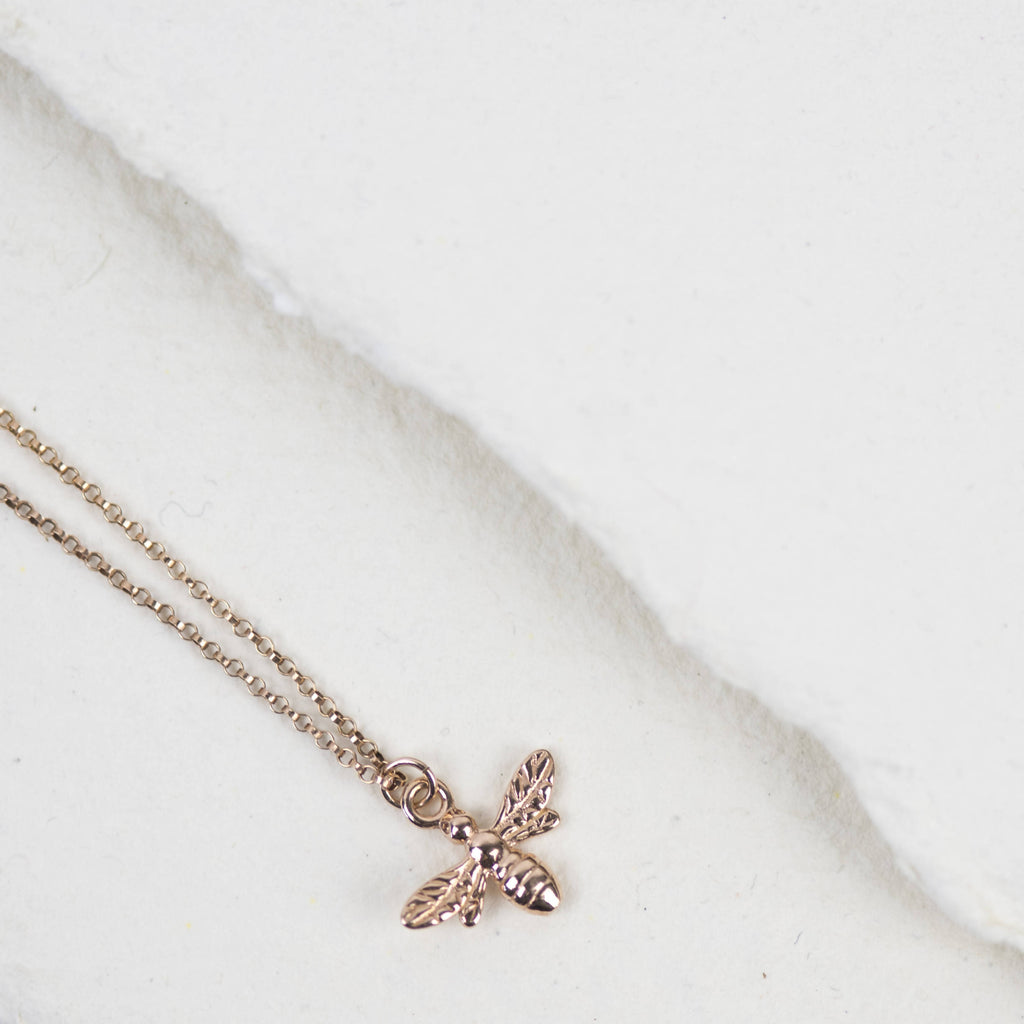 British Bee Necklace, Sterling Silver, Rose Gold, Gold