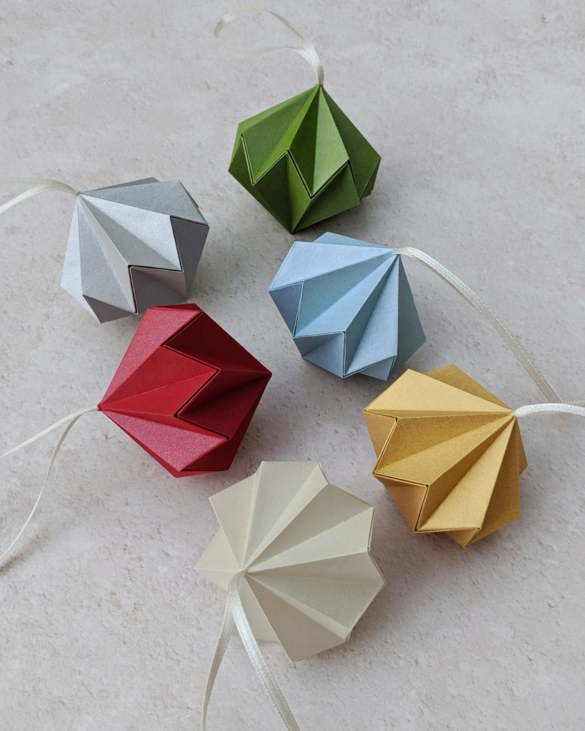origami diamond tree baubles in silver red ivory gold blue and green
