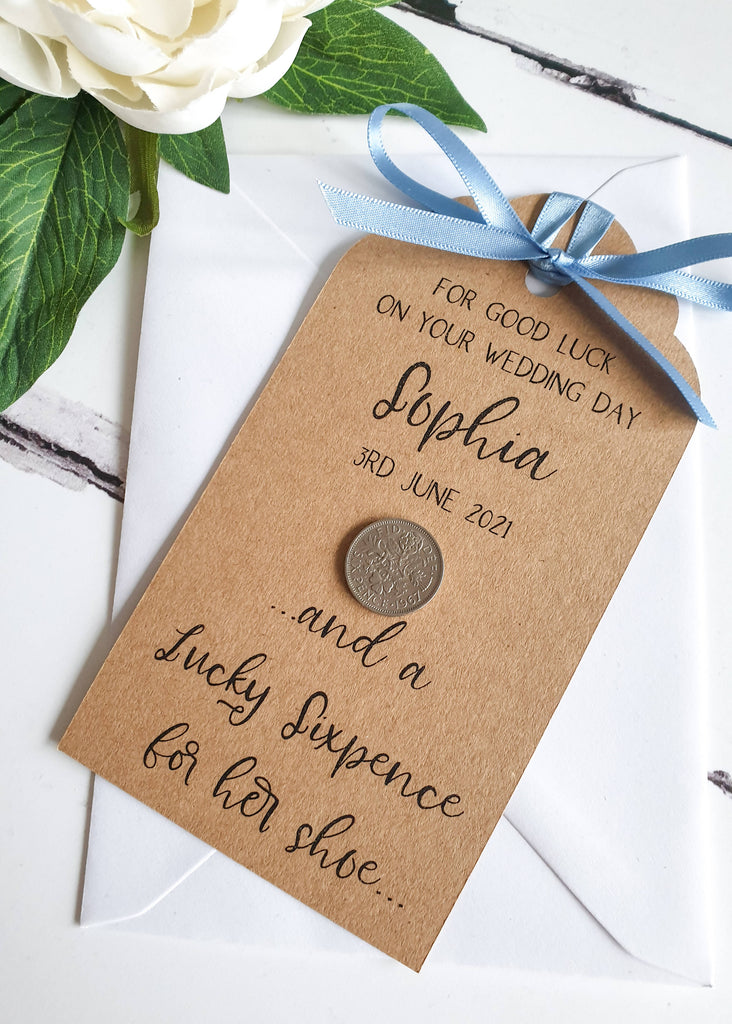Lucky Sixpence Gift Tag for Bride - Personalised