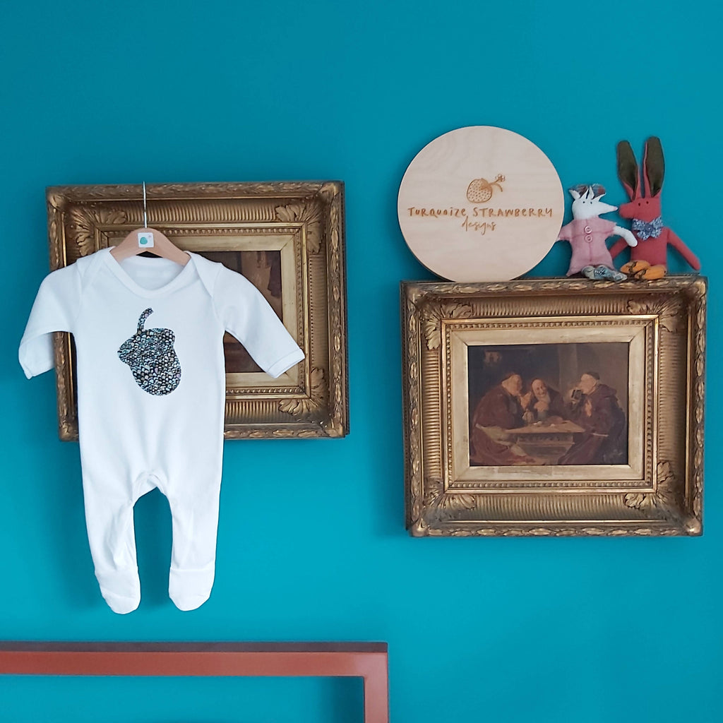 ACORN applique organic cotton white romper