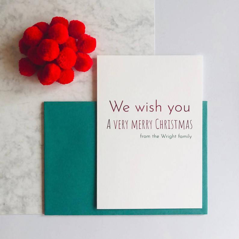 Personalised We wish Wish You a Very Merry Christmas Charity Foiled Christmas Card