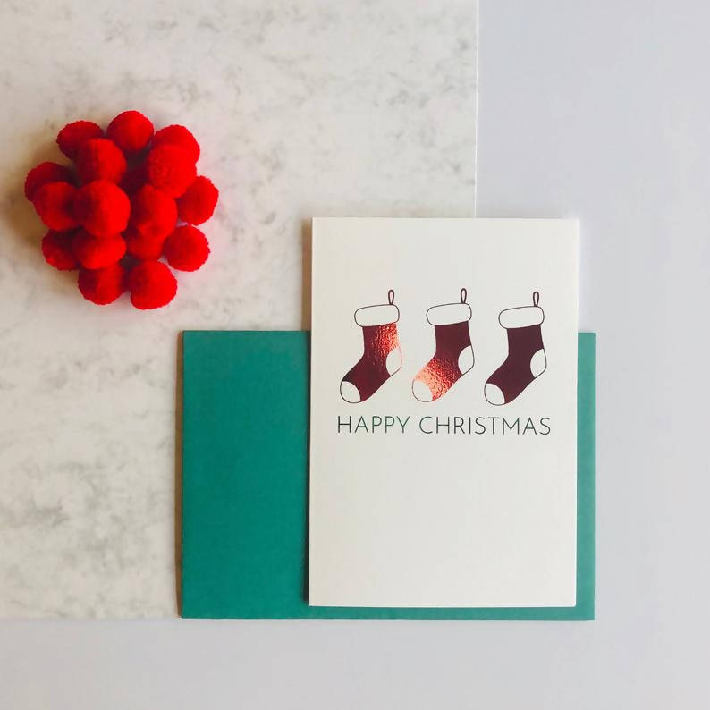 Single or Packs of Stocking Charity Foiled Christmas Cards