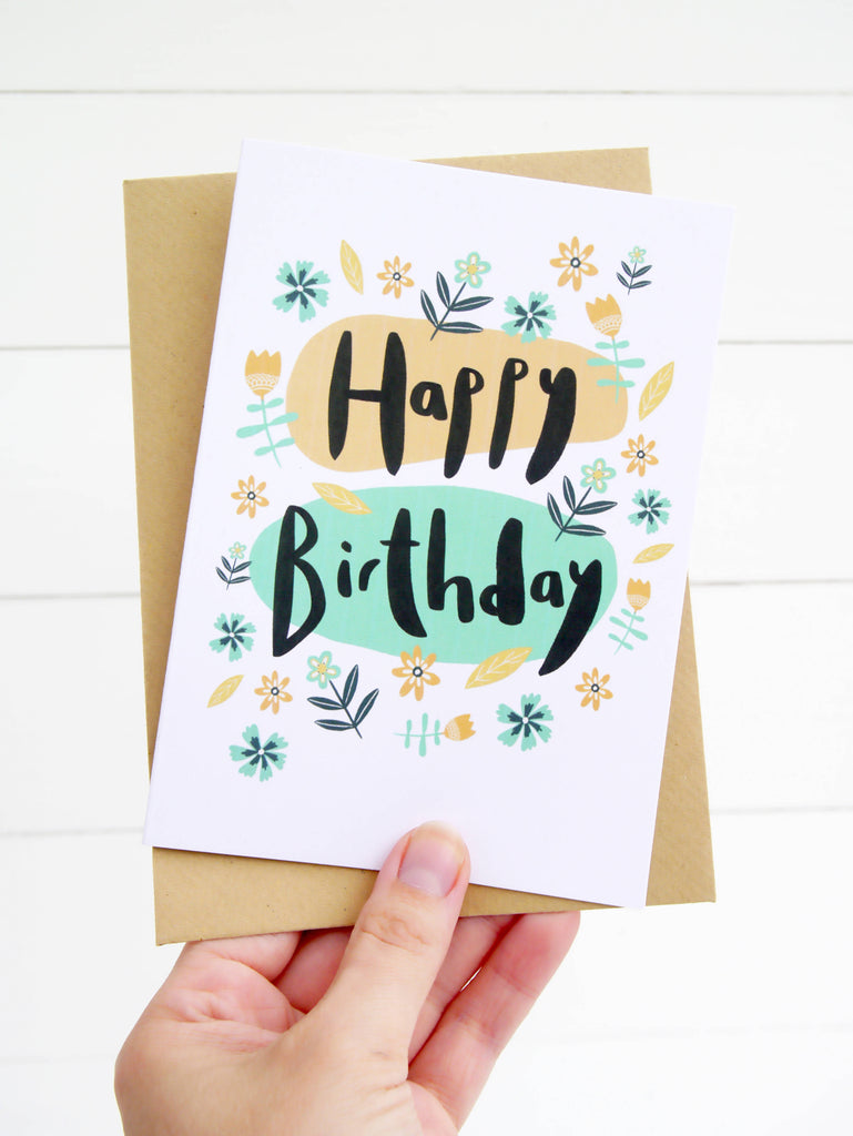 Happy Birthday Folk Florals Greetings Card