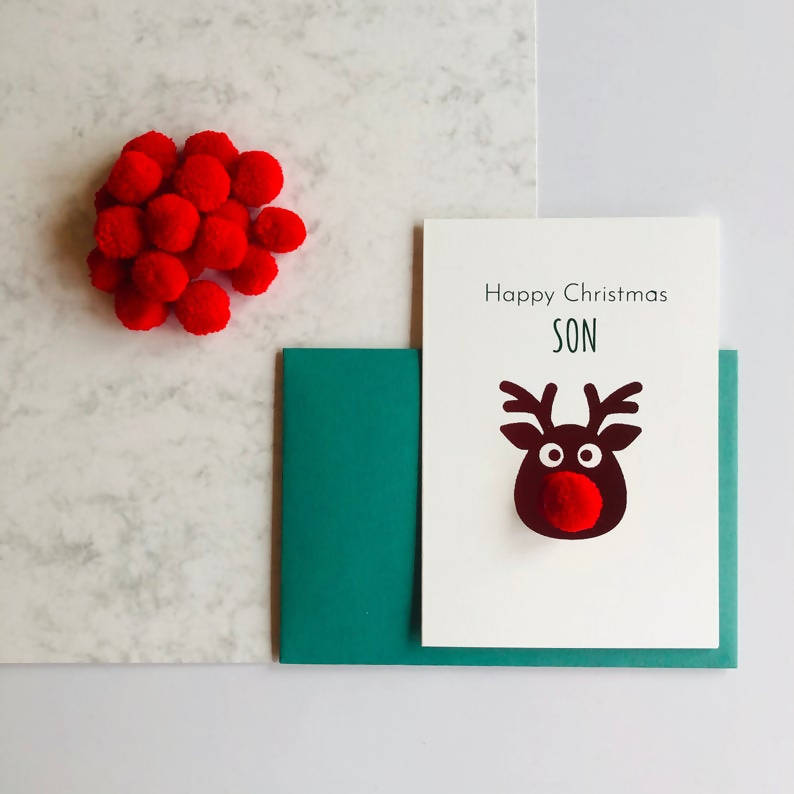 Son Pom Pom Happy Christmas Card