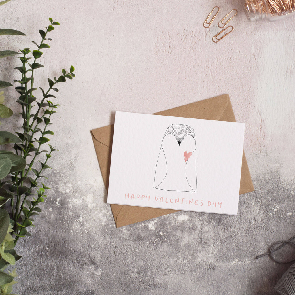 Happy Valentines Day Penguin Card