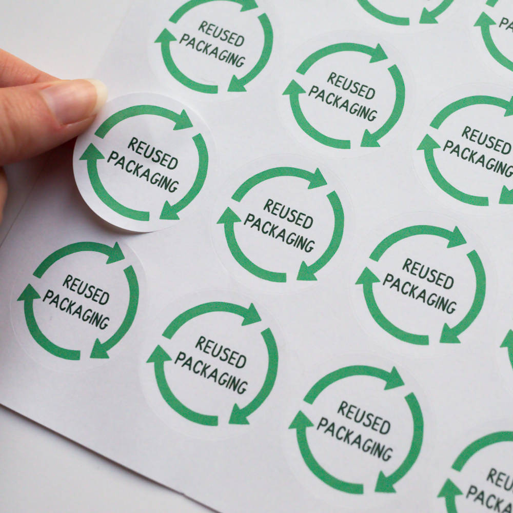 35x Eco Friendly Reused Packaging Stickers