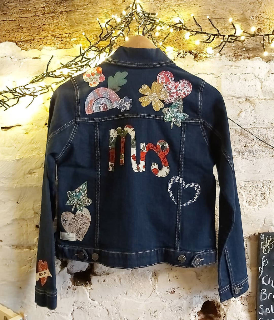 Bespoke Bridal Party Liberty Tana Lawn appliqué denim jacket