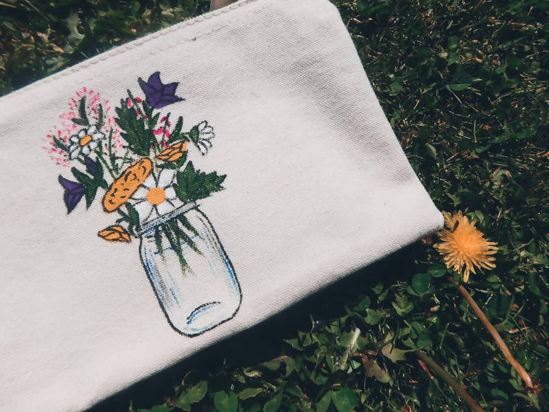 Wildflower Jar Hand Painted Organic Cotton Accessory Pouch