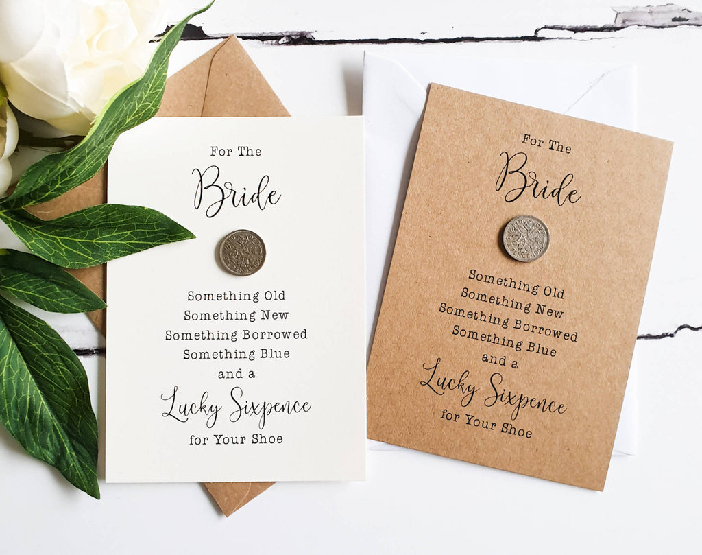 Lucky Sixpence Gift for Bride - Kraft or Cream.