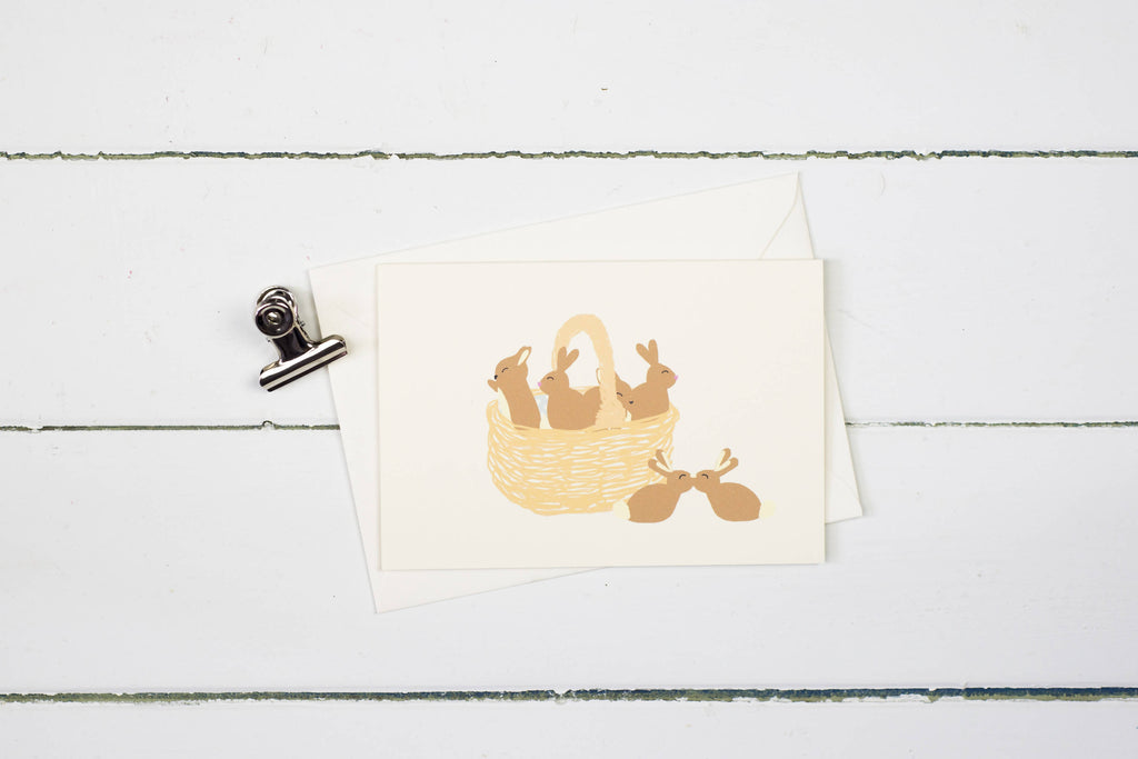 Basket of bunnies- Easter greetings card