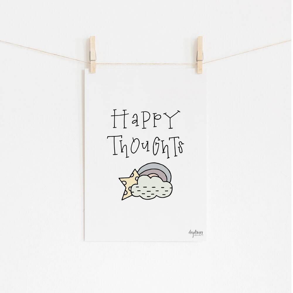 Happy Thoughts, hand lettered and illustrated art print