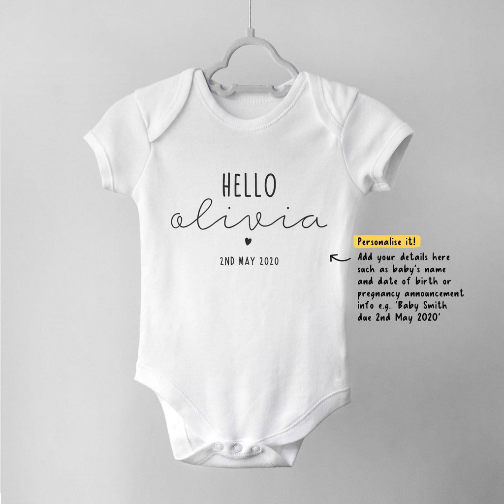 Personalised Hello Baby Bodysuit