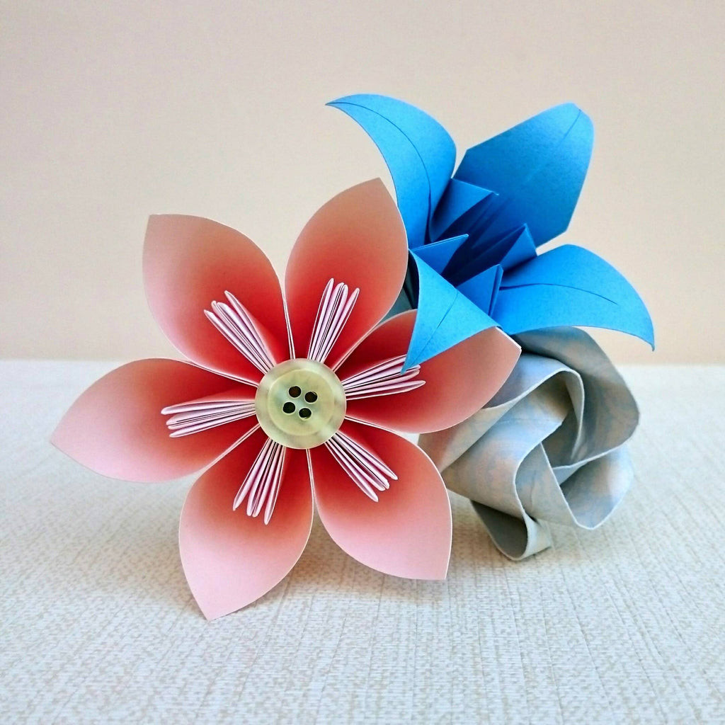 Peach and blue origami paper flower bouquet, thank you gift