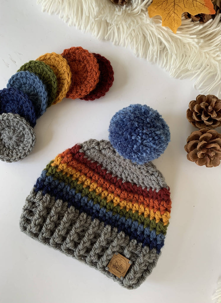 Crochet Autumn Rainbow Beanie Hat