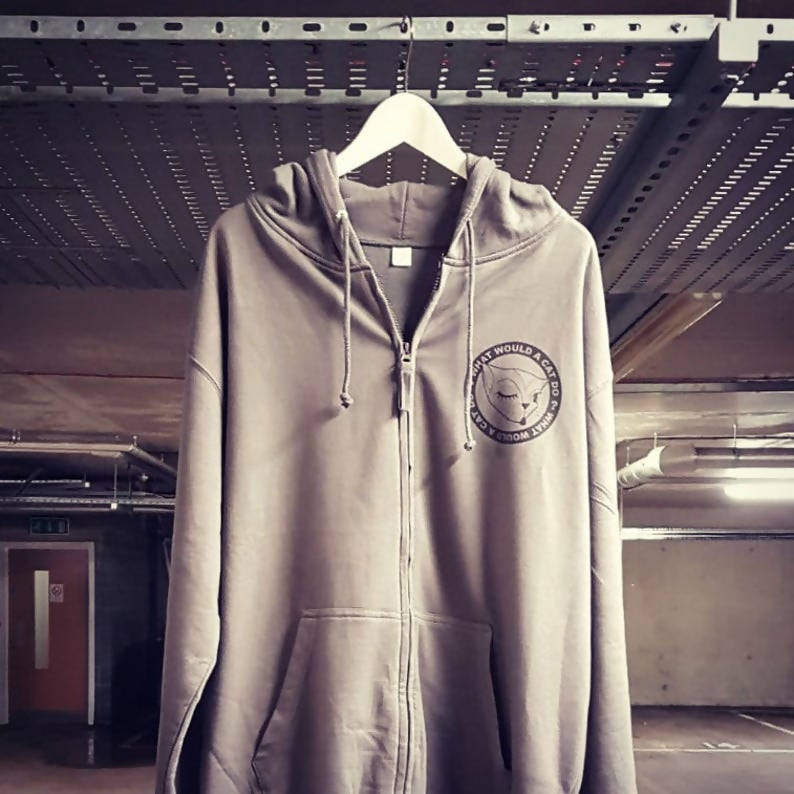 """What Would a Cat Do?"" Cozy Zip Up Grey Hoodie"