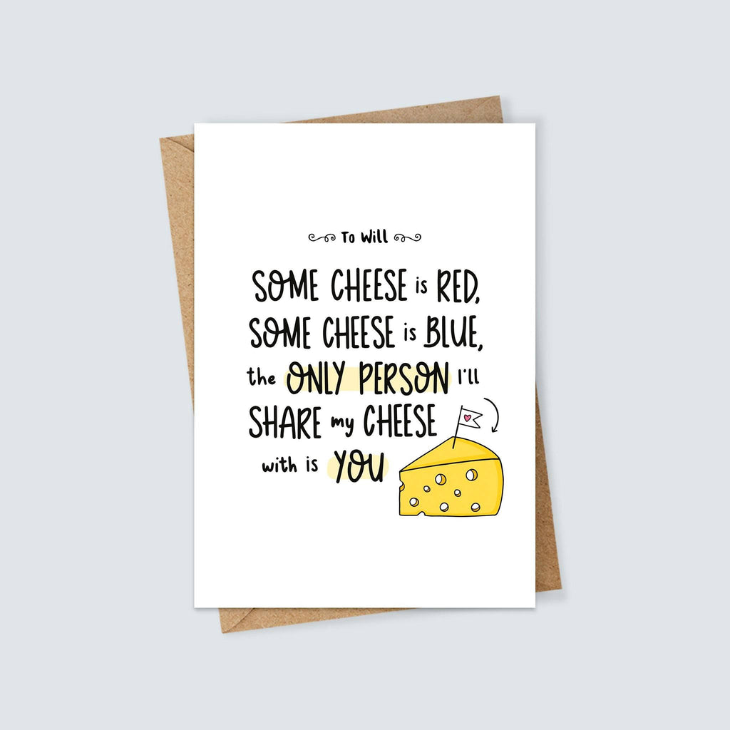Personalised Cheese Themed Valentine's Day Card