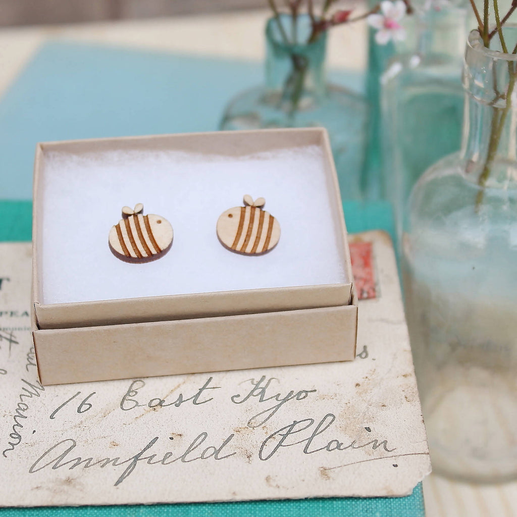Wooden Laser Cut Bumble Bee Earrings in Gift Box-Ginger Pickle
