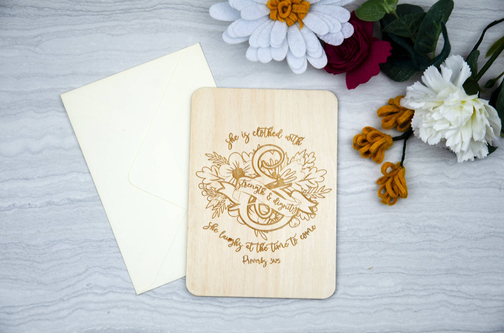 Proverbs 31 Wooden engraved Mothers Day Cards