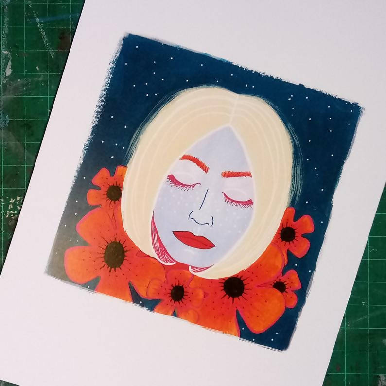 Dreaming Girl With Flowers & Stars A5 Art Print