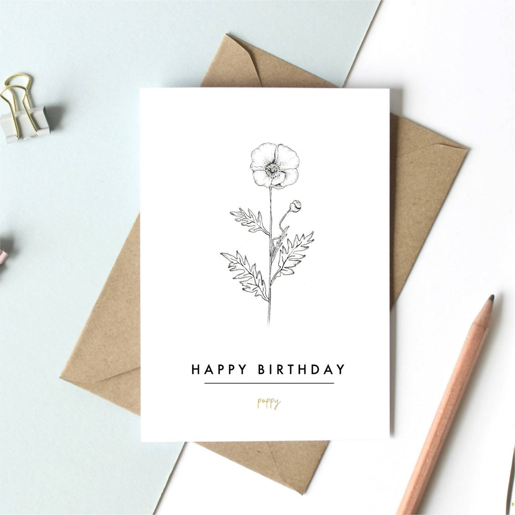August Birth Flower Greeting Card