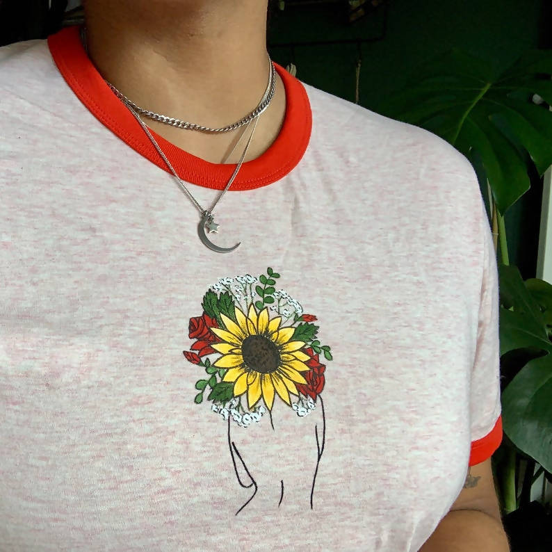 Sunflower, Roses & Baby's breath flower Unisex Organic Cotton Hand Painted T-shirt