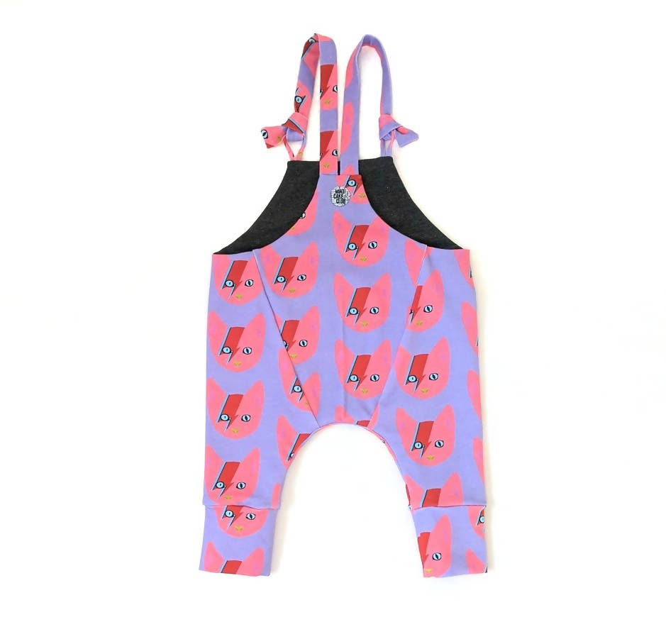 Pink Lightening cats kids dungarees