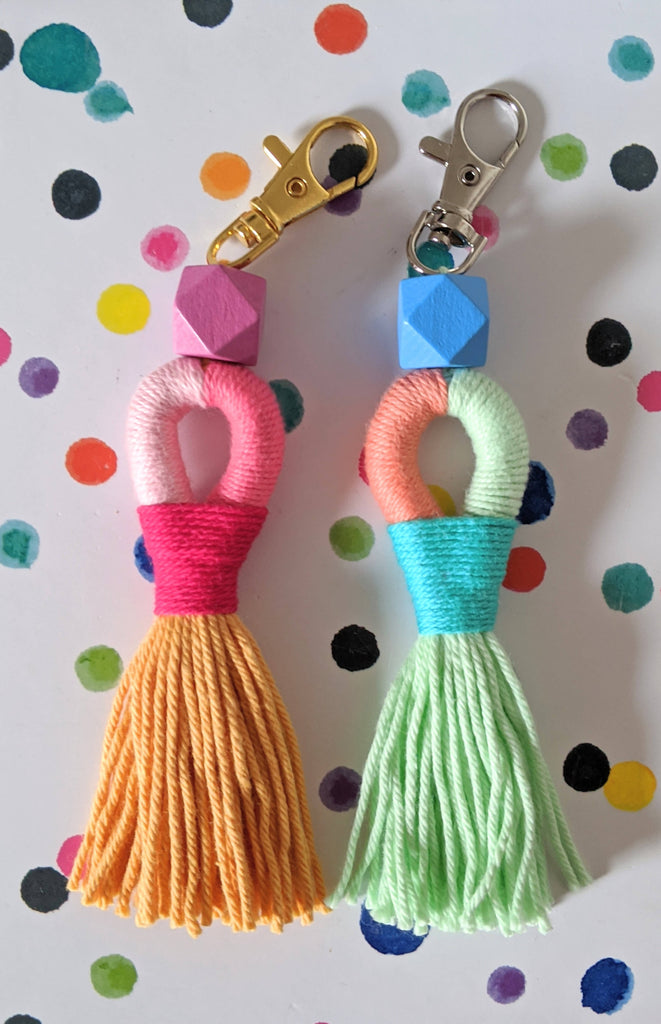 Tassel keyring with geometric wooden bead