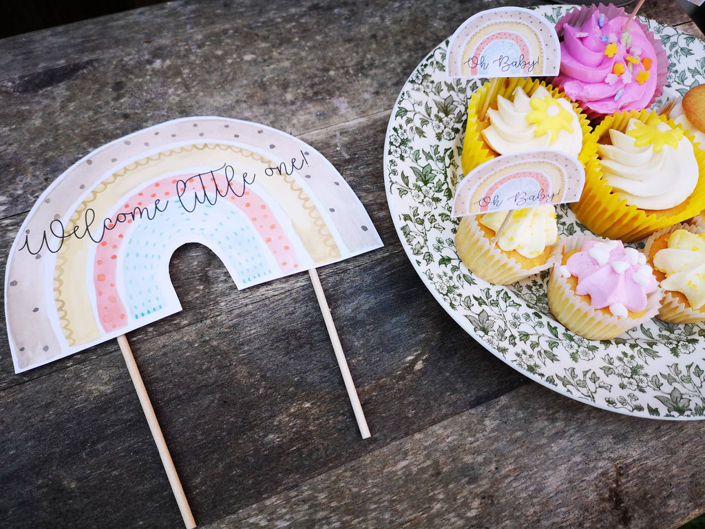 Rainbow Cake Topper and Cupcake toppers