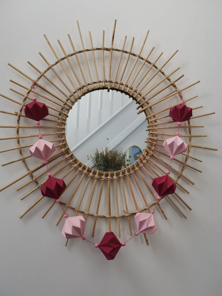 Pink and red origami garland