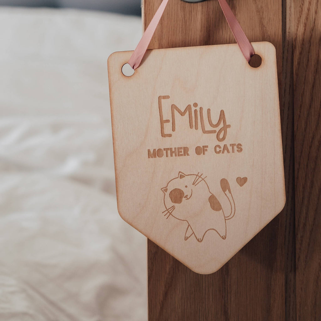 Cat Mummy Wooden Hanging Flag Decoration