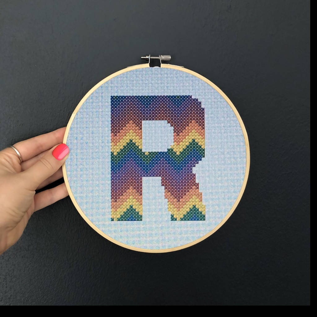 Rainbow Alphabet Initial Cross Stitch Kits