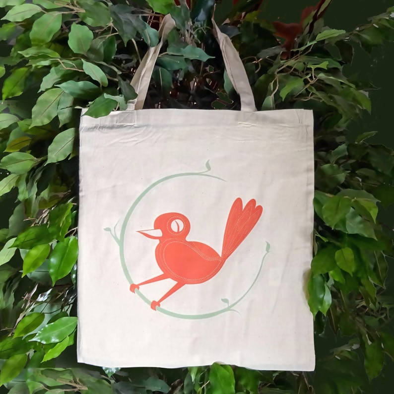 Bird illustrated tote bag