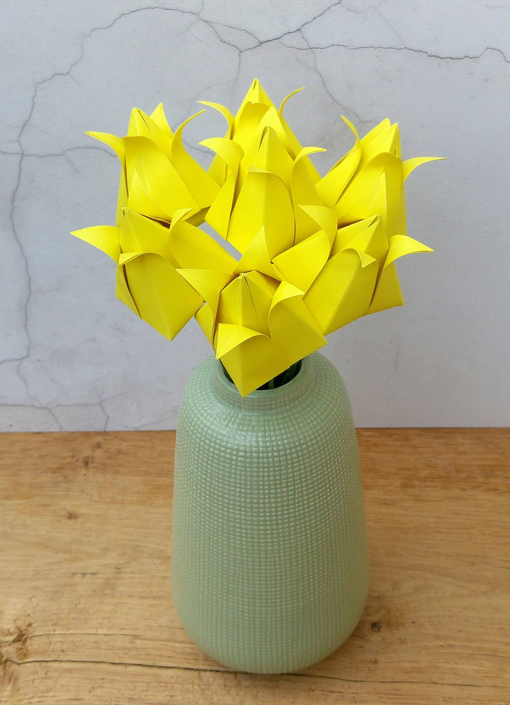 Yellow origami tulips