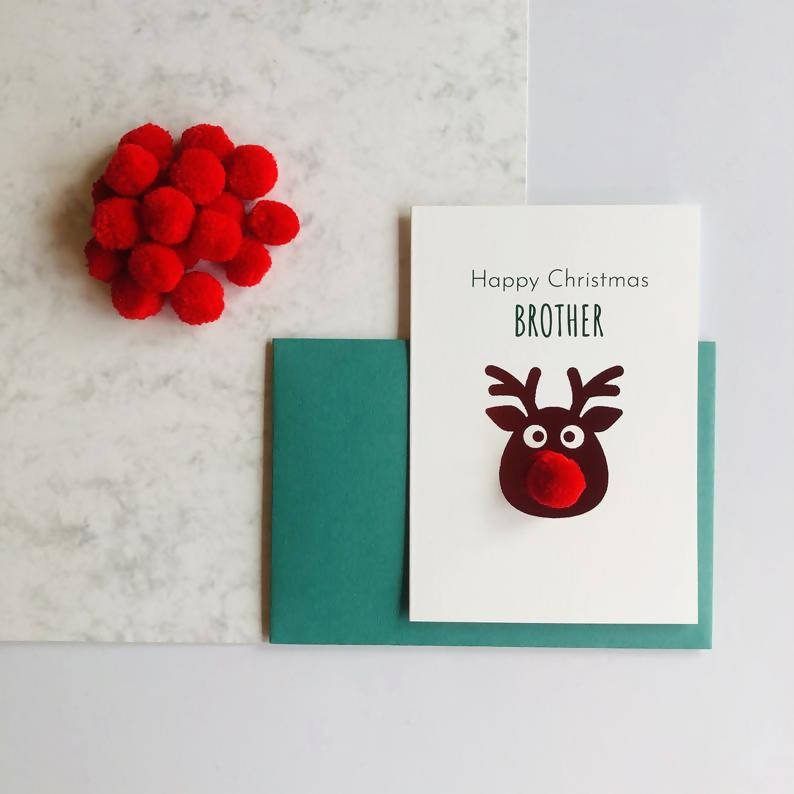 Brother Pom Pom Happy Christmas Card
