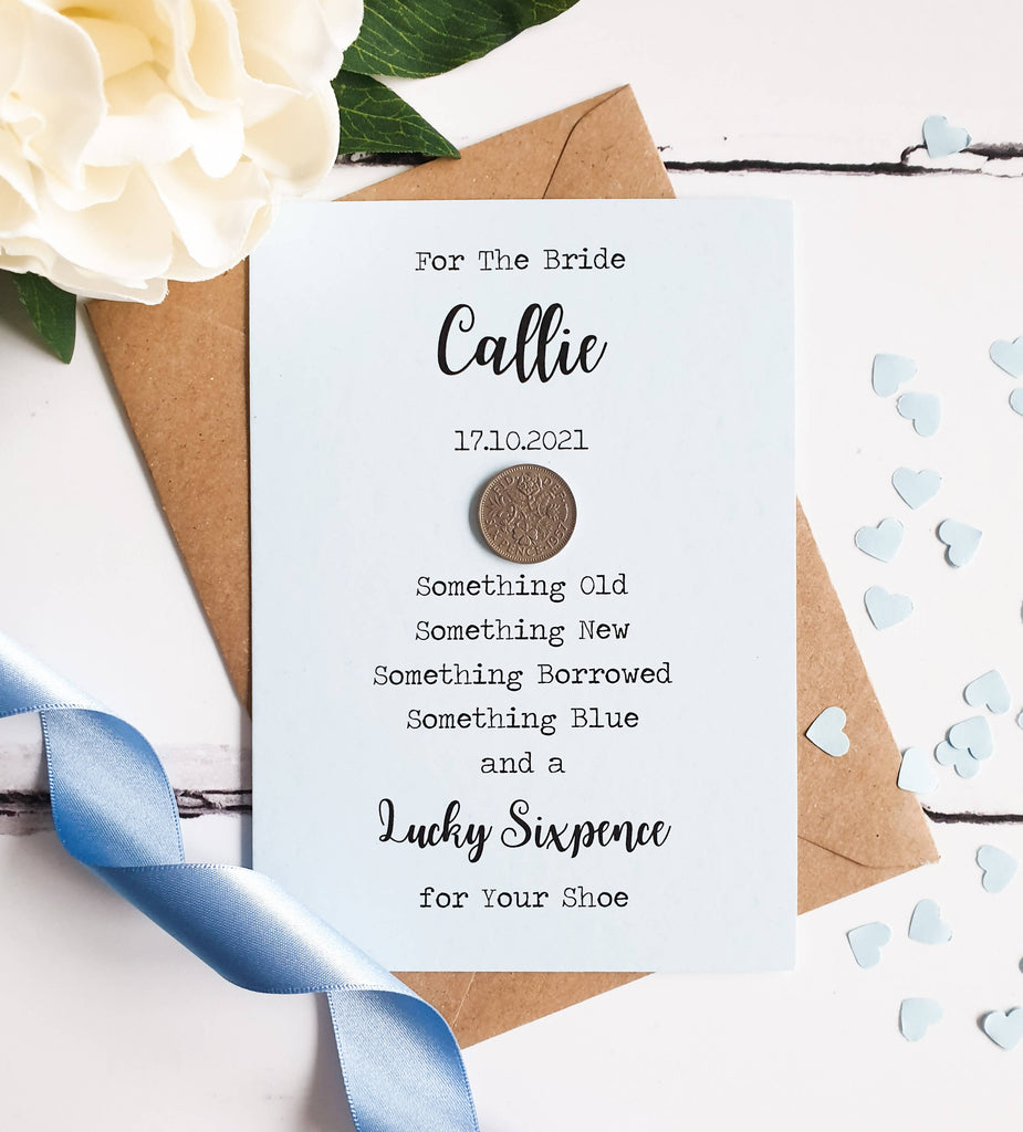 Lucky Sixpence Gift for Bride - Personalised.