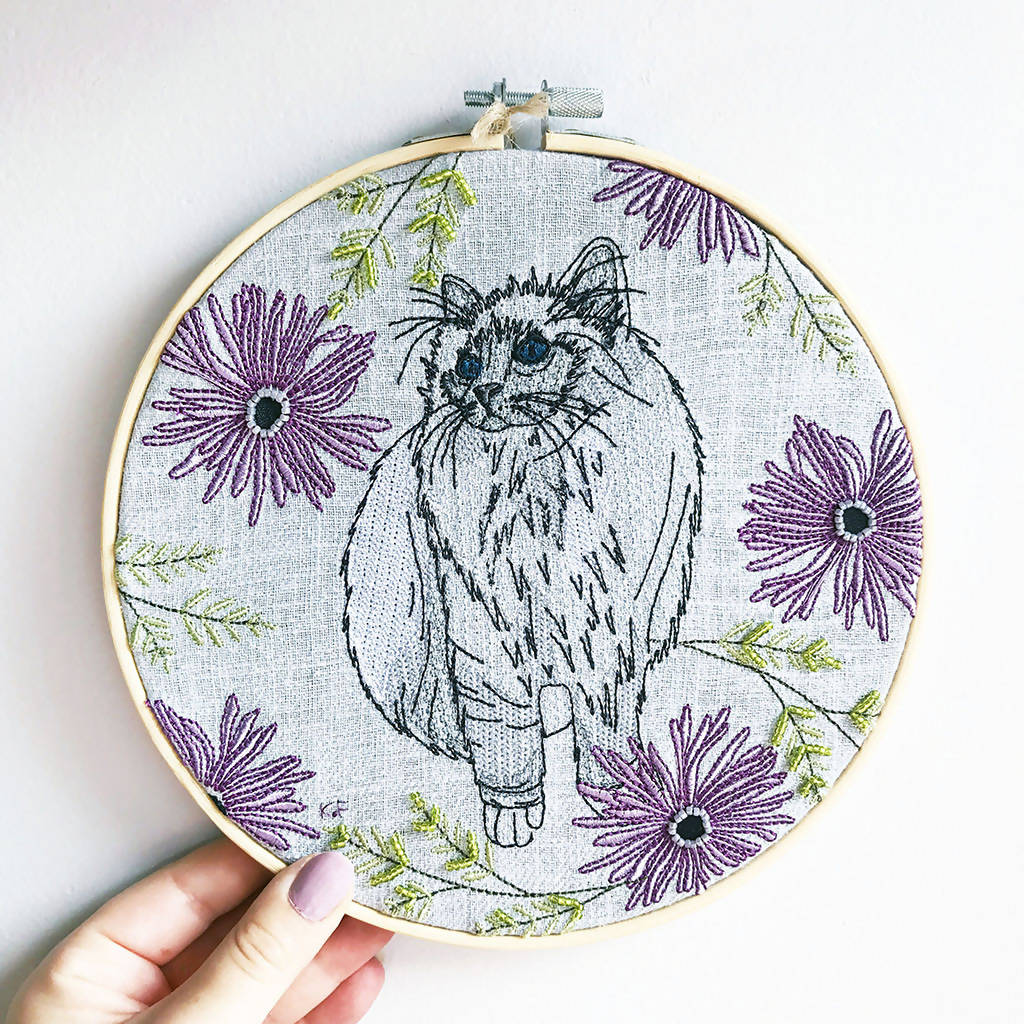 Cat Embroidery Hoop Art