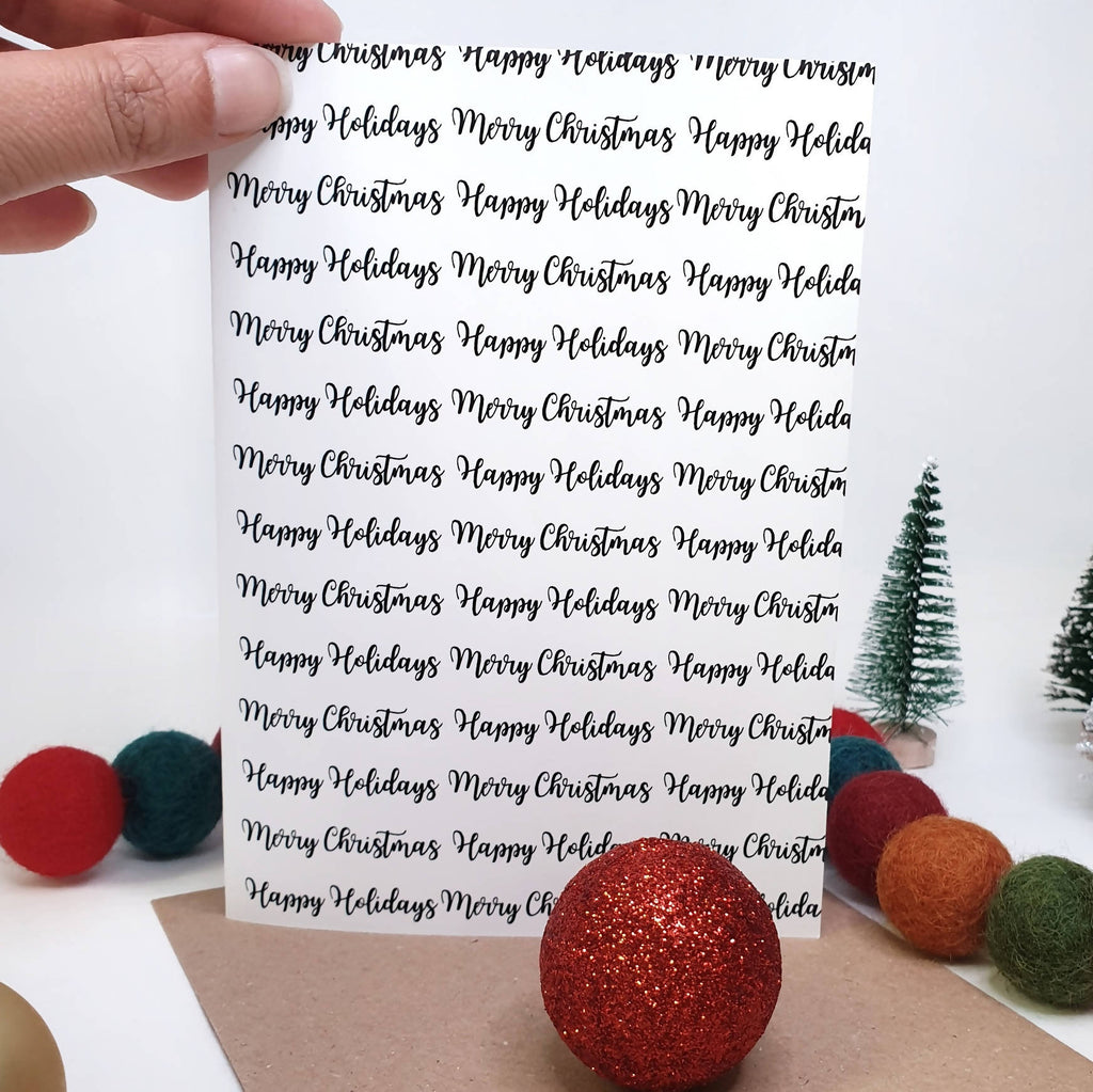 Merry Christmas Happy Holidays - A6 Monochrome Typo Greeting Card