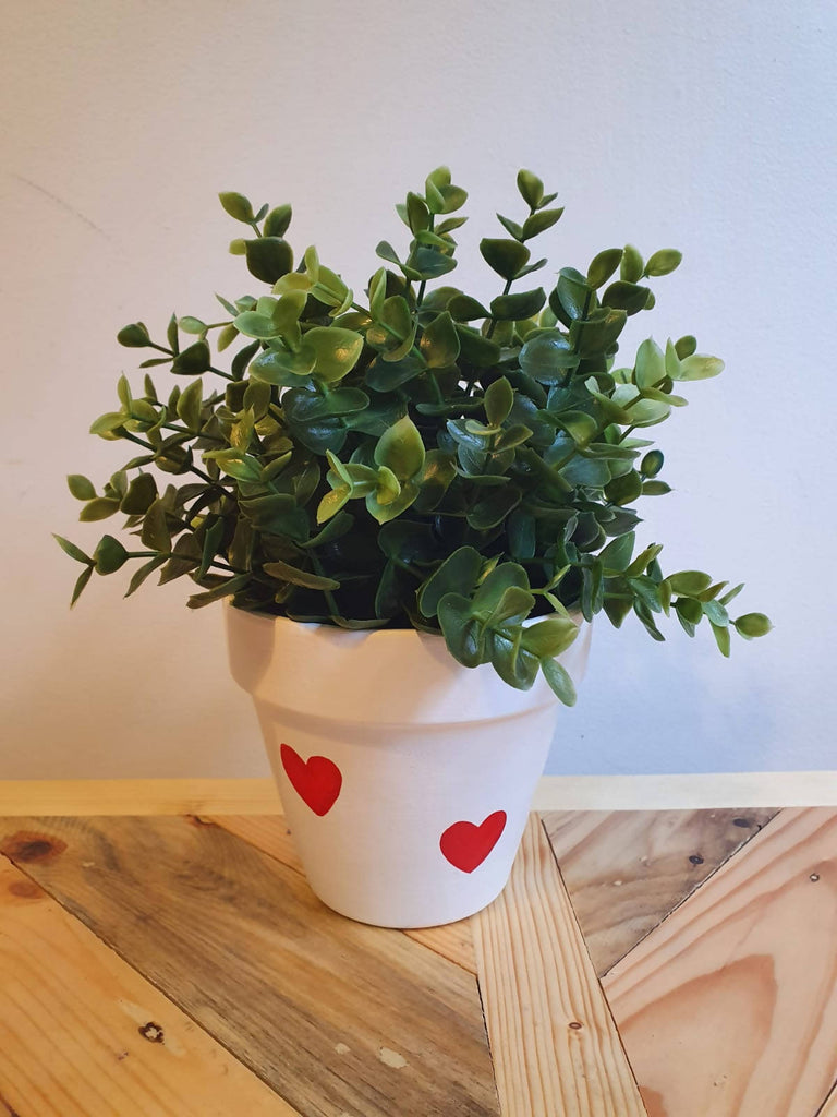White Heart Plant Pot