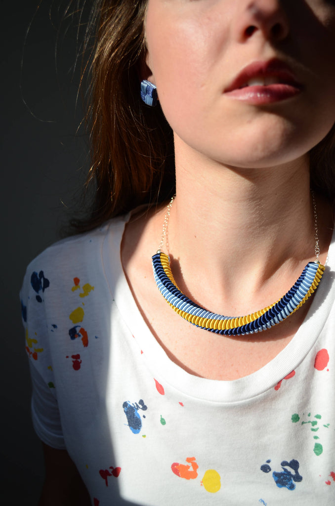 Twist Necklace Blue & Yellow