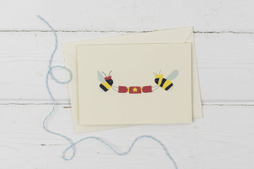 Bees with Christmas cracker- Christmas card