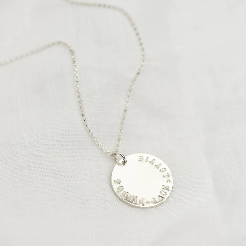 Sterling Silver Personalised Maxi Disc Necklace