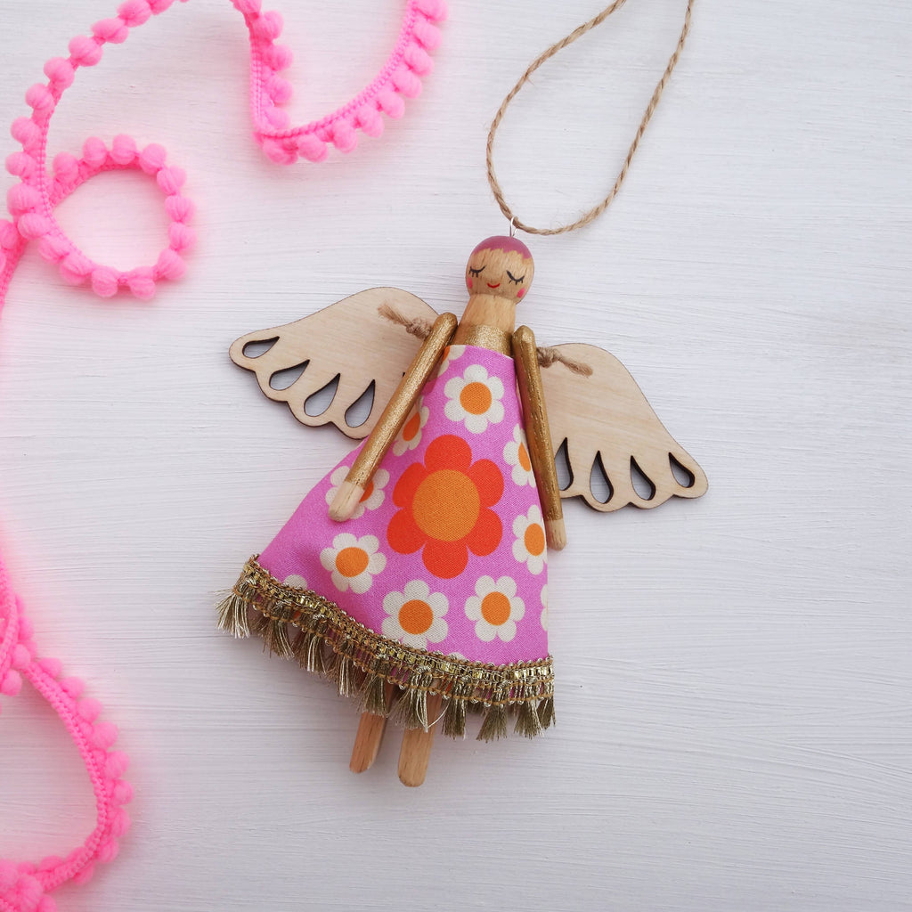 Retro Peg Angel – Handmade Wooden Hanging Decoration