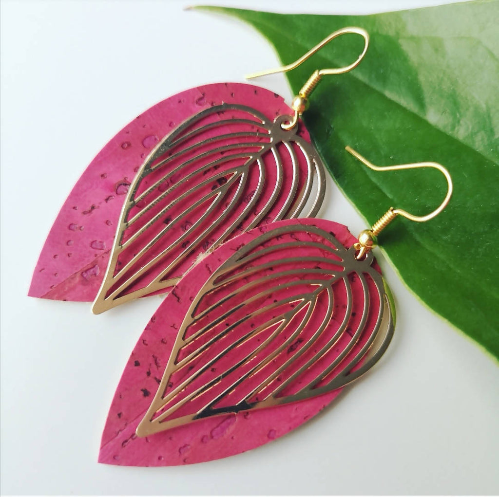 Pink Cork leather Leaf design statement earrings, Ami and Lo, Andsotoshop