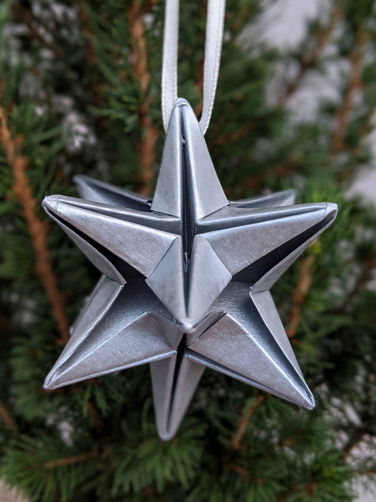 silver Christmas tree star ornament