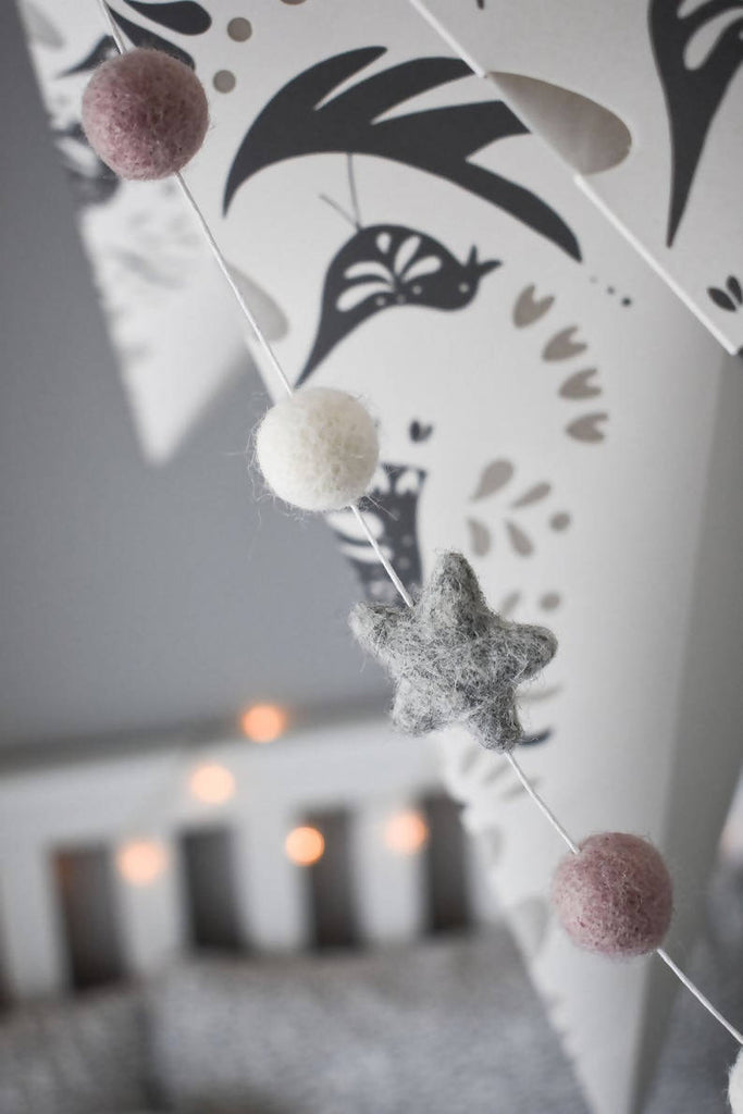 Pink and Grey Star Pom Pom Garland
